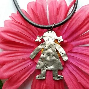 Jewelry - Baby girl necklace hammered silver daughter